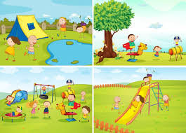 children in the park vector free