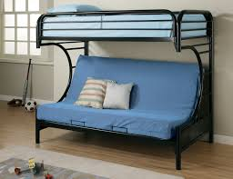 blue fabric sofa bed with back on black metal bunk bed with blue