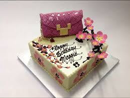 oriental design birthday cake with 3d cherry blossom and valentino