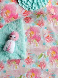Pastel Crib Bedding Watercolor Floral Crib Sheet Pink Floral Baby Bedding Baby