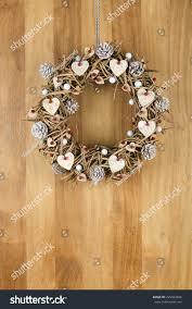 decorated christmas door wreath birch hearts stock photo 225934504
