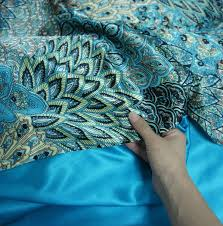fadfay home textile peacock feather bedding set peacock blue