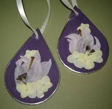 bridal bouquet keepsake beveled glass ornament pressed flower