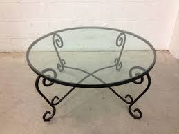 prepossessing round glass top coffee table wrought iron for home