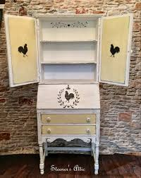 refinished vintage drop front secretary white and yellow chalk