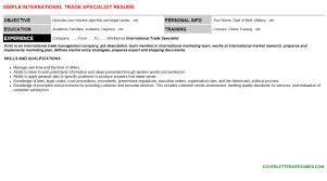 international trade specialist cover letter u0026 resume