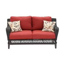 hampton bay woodbury all weather wicker patio loveseat with chili