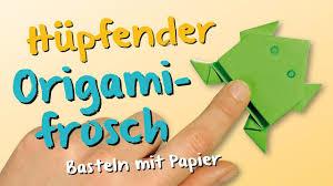 basteln origami basteln mit papier hüpfender frosch fuchs aus