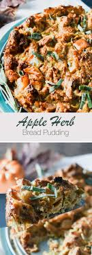 herb apple bread pudding thanksgiving side dish recipe