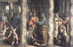 the healing of the lame man cartoon for the sistine chapel 1515