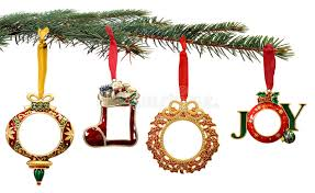 hand painted christmas ornaments hanging on a tree royalty free
