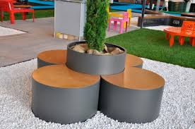 contemporary planter boxes with modern brown and gray circle