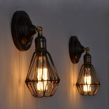 Edison Bulb Wall Sconce Vintage Loft Iron Cage Home Deco Bedroom Wall Sconce Ls Retro