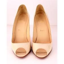 christian louboutin yoyo 85 peep toe patent bone pump shoes size