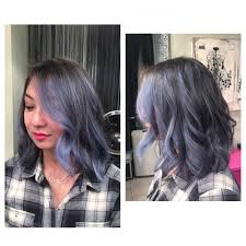 grey blue balayage on lob haircut yelp