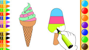 coloring ice cream and fruits drawing fruits for kids learn how