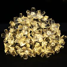 warm white solar fairy lights 50 led solar fairy lights for garden warm white blossom string