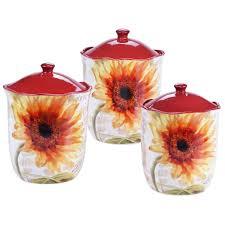 sunflower canister sets kitchen certified international sunflower 3 canister set