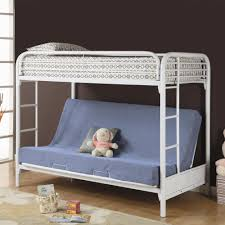 blue futon sofa bed with back on white metal bunk bed having