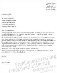resources representative cover letter sample