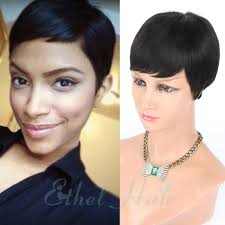 short hairstyle wigs for black women 2016 new pixie cut cheap human hair wig rihanna black short cut