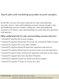 resume format for sales job top8salesandmarketingassociateresumesamples 150508032134 lva1 app6891 thumbnail 4 jpg cb 1431055339