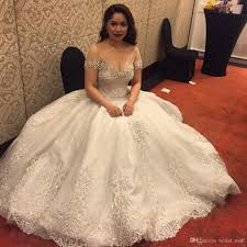 see through beaded crystal short sleeves wedding dresses 2017