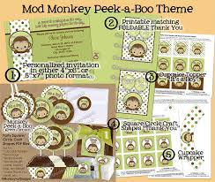 Modern Mommy Baby Shower Theme - peek a boo mod monkey baby shower basic party set mppv4