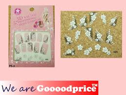 3d lace style white black design jewelry nail art stickers party
