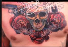 tattoos u0026 art by david ekstrom skull rose chest tattoo