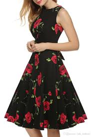 retro prited audrey hepburn vintage swing dress new style floral