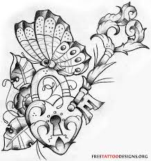 lock heart key and butterfly tattoo design