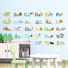 Wall Stickers For Kids Rooms by Amazon Com Animal Alphabet Baby Nursery Peel Andstick Wall Art