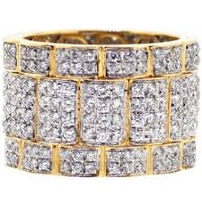 mens eternity rings mens all way diamond wide eternity band ring 14k yellow gold