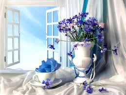 Pretty Vase Flowers Bouquet Beauty Lovely Beautiful White Clouds Blue Flowers
