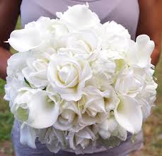 Silk Peonies Bouquet Of Silk Peonies Callas And Roses Off White Natural Touch