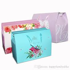 bright coloured gift box packaging bag with string handles
