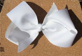 bow for hair big white grosgrain hair bow