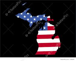 Map Of Michigan State by Map Of Michigan With Flag Stock Illustration I1588608 At Featurepics