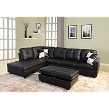 3 2 Leather Sofa Deals Amazon Com Lifestyle Black 3 Piece Faux Leather Left Facing