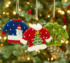 sweater ornaments set of 3 pottery barn