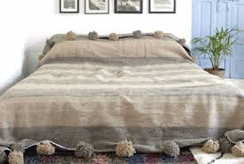 Moroccan Coverlet Moroccan Hand Loomed Pom Pom Blankets Moroccan Bedspreads