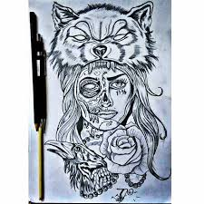 wolf catrina with rose and crow face tattoo golfian com