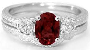 engagement rings with birthstones garnet engagement ring and wedding band with engraving in 14k