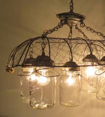 Canning Jar Lights Chandelier Union Original Chicken Wire Vintage Inspired 5 Lite Jar