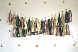black and gold party decorations dusty gold and black tassel garland pink and gold party