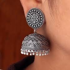 jhumka earrings online shopping buy hot sales amazing new look handmade oxidised silver tone