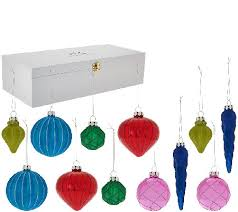 isaac mizrahi live set of 12 glass ornaments in wooden