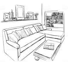 Couch Drawing Room Interior Sketch Hand Drawn Sofa And Furniture Stock Vector