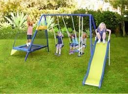 Backyard Jungle Gyms by Amazon Com Metal Swing Set W Trampoline And Slide Jungle Gym